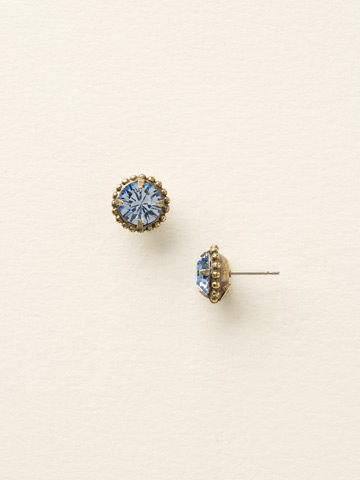 Simplicity Stud Earring in Antique Gold-tone Light Sapphire