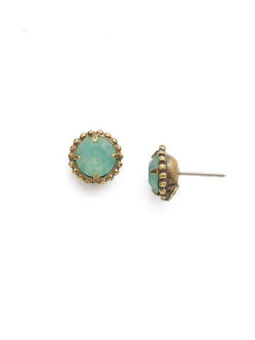 Simplicity Stud Earrings in Antique Gold-tone Pacific Opal