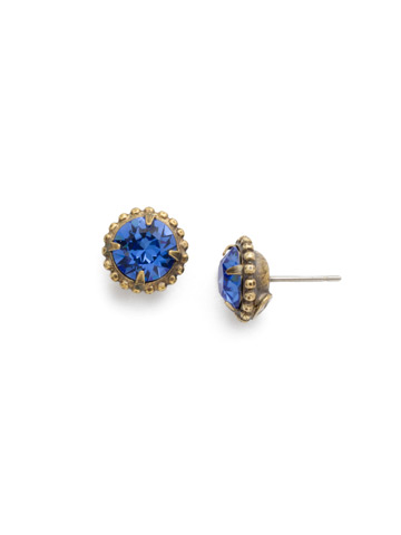 Simplicity Stud Earring in Antique Gold-tone Sapphire
