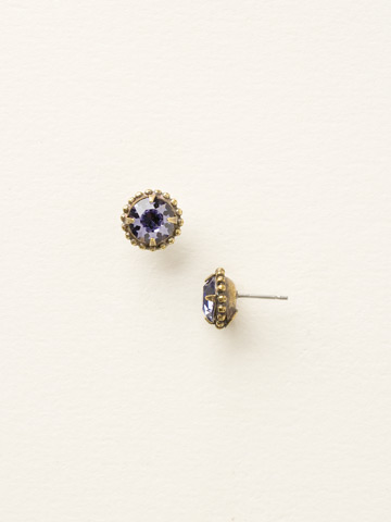 Simplicity Stud Earring in Antique Gold-tone Tanzanite