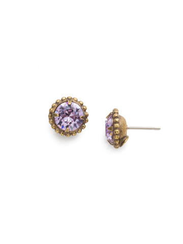 Simplicity Stud Earring in Antique Gold-tone Violet
