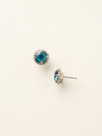 Simplicity Stud Earring in Antique Silver-tone Blue Topaz