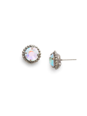 Simplicity Stud Earrings in Antique Silver-tone Crystal Aurora Borealis