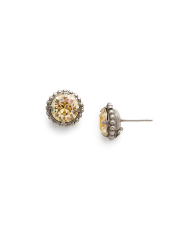 Simplicity Stud Earring in Antique Silver-tone Crystal Champagne