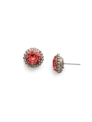 Simplicity Stud Earring in Antique Silver-tone Coral
