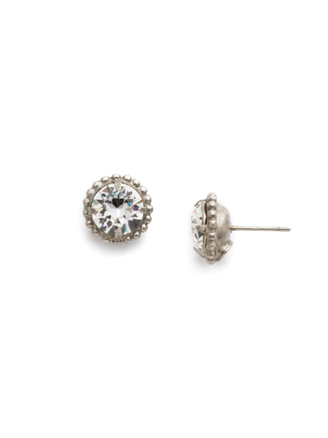 Simplicity Stud Earring in Antique Silver-tone Crystal