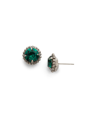 Simplicity Stud Earring in Antique Silver-tone Emerald