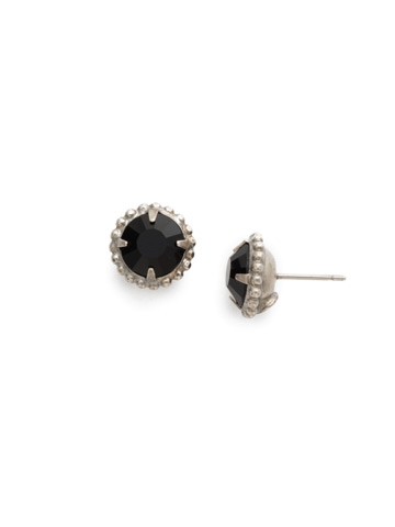 Simplicity Stud Earring in Antique Silver-tone Jet