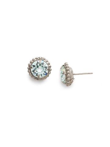 Simplicity Stud Earring in Antique Silver-tone Light Aqua