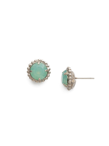 Simplicity Stud Earring in Antique Silver-tone Pacific Opal