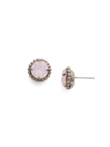 Simplicity Stud Earring in Antique Silver-tone Rose Water