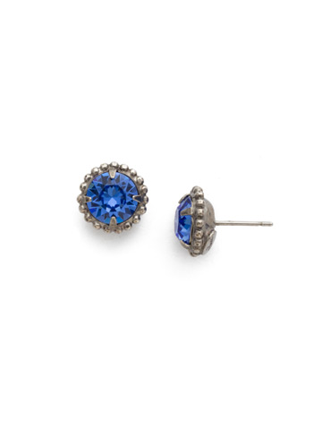Simplicity Stud Earring in Antique Silver-tone Sapphire