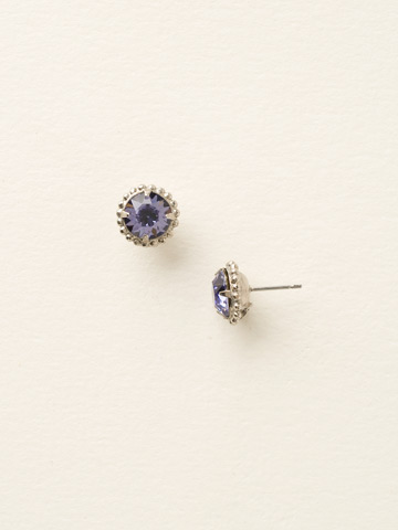 Simplicity Stud Earring in Antique Silver-tone Tanzanite