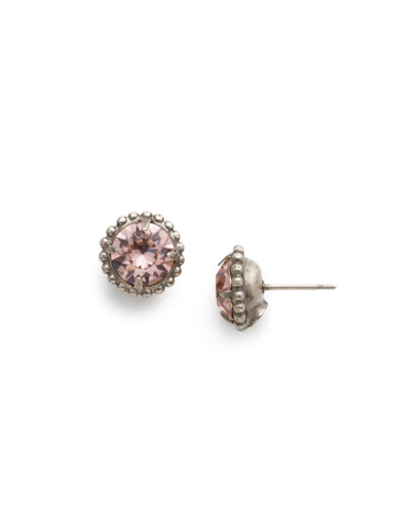Simplicity Stud Earring in Antique Silver-tone Vintage Rose