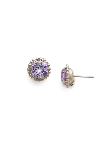 Simplicity Stud Earring in Antique Silver-tone Violet
