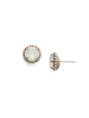 Simplicity Stud Earrings in Antique Silver-tone White Opal