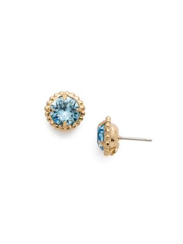 Simplicity Stud Earring in Bright Gold-tone Aquamarine