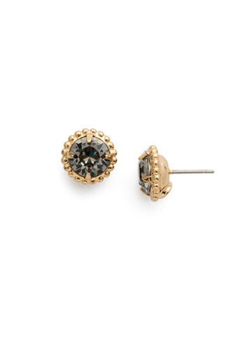 Simplicity Stud Earrings in Bright Gold-tone Black Diamond