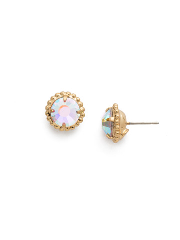 Simplicity Stud Earring in Bright Gold-tone Crystal Aurora Borealis