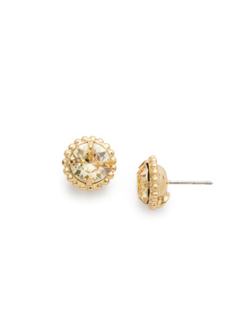 Simplicity Stud Earring in Bright Gold-tone Crystal Champagne