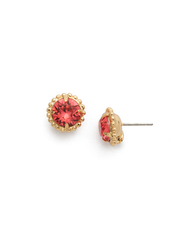 Simplicity Stud Earring in Bright Gold-tone Coral