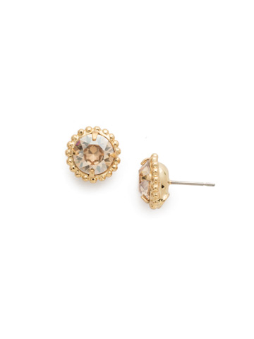 Simplicity Stud Earring in Bright Gold-tone Dark Champagne