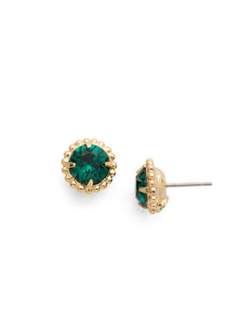 Simplicity Stud Earring in Bright Gold-tone Emerald