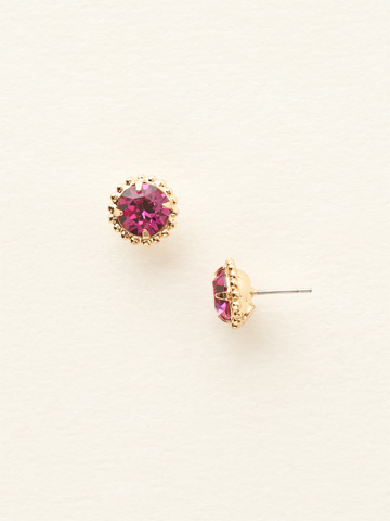 Simplicity Stud Earring in Bright Gold-tone Fuchsia
