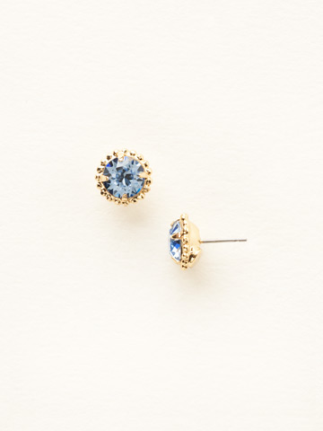 Simplicity Stud Earring in Bright Gold-tone Light Sapphire