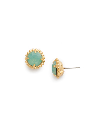 Simplicity Stud Earring in Bright Gold-tone Pacific Opal