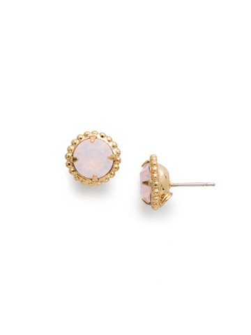 Simplicity Stud Earring in Bright Gold-tone Rose Water