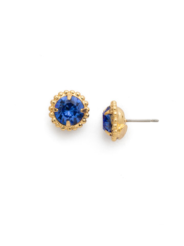 Simplicity Stud Earring in Bright Gold-tone Sapphire