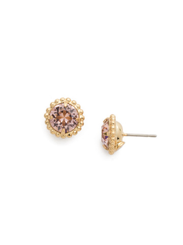 Simplicity Stud Earring in Bright Gold-tone Vintage Rose