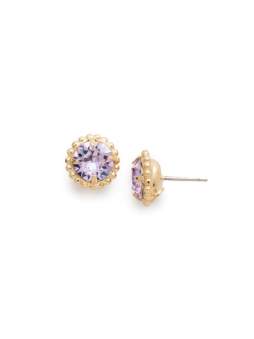 Simplicity Stud Earring in Bright Gold-tone Violet