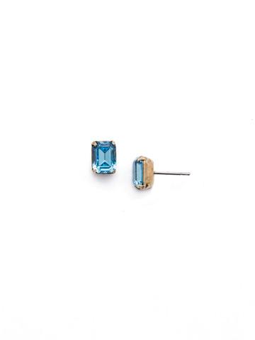 Mini Emerald Cut Stud Earring in Antique Gold-tone Aquamarine