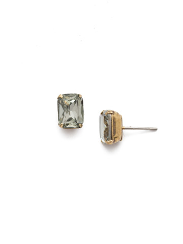 Mini Emerald Cut Stud Earring in Antique Gold-tone Black Diamond