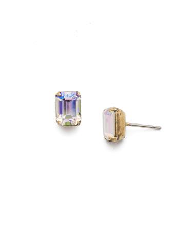 Mini Emerald Cut Stud Earring in Antique Gold-tone Crystal Aurora Borealis