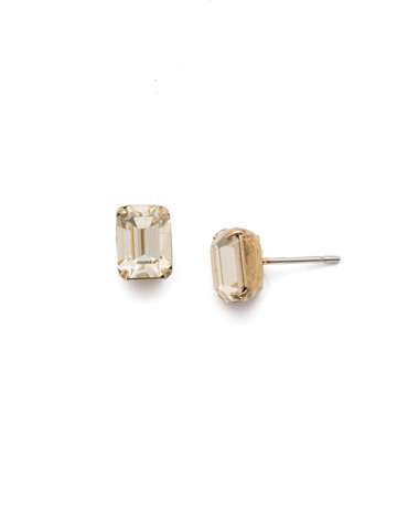 Mini Emerald Cut Stud Earring in Antique Gold-tone Crystal Champagne