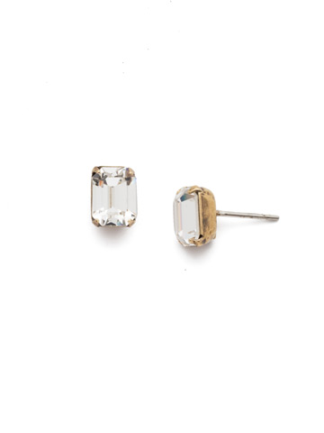 Mini Emerald Cut Stud Earring in Antique Gold-tone Crystal