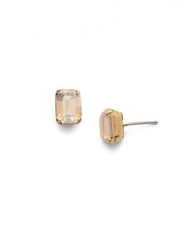 Mini Emerald Cut Stud Earring in Antique Gold-tone Dark Champagne