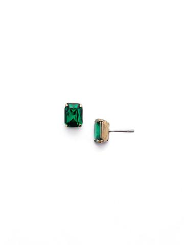 Mini Emerald Cut Stud Earring in Antique Gold-tone Emerald