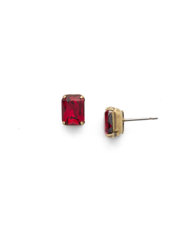 Mini Emerald Cut Stud Earring in Antique Gold-tone Game of Jewel Tones