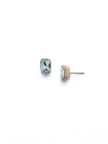 Mini Emerald Cut Stud Earring in Antique Gold-tone Light Aqua