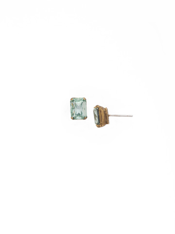 Mini Emerald Cut Stud Earring in Antique Gold-tone Mint