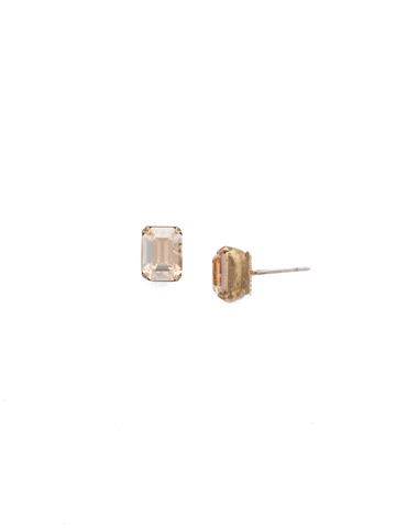 Mini Emerald Cut Stud Earring in Antique Gold-tone Neutral Territory