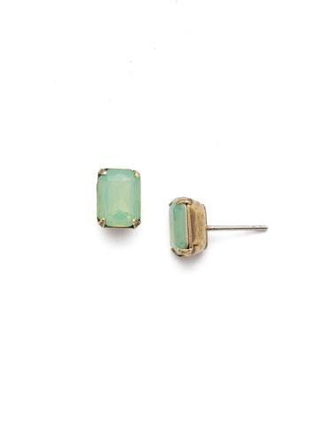 Mini Emerald Cut Stud Earring in Antique Gold-tone Pacific Opal