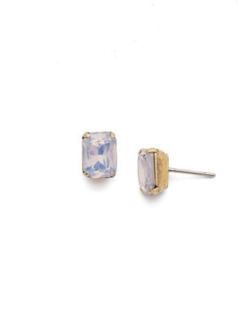 Mini Emerald Cut Stud Earring in Antique Gold-tone Rose Water
