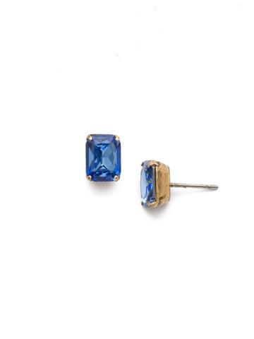Mini Emerald Cut Stud Earring in Antique Gold-tone Sapphire