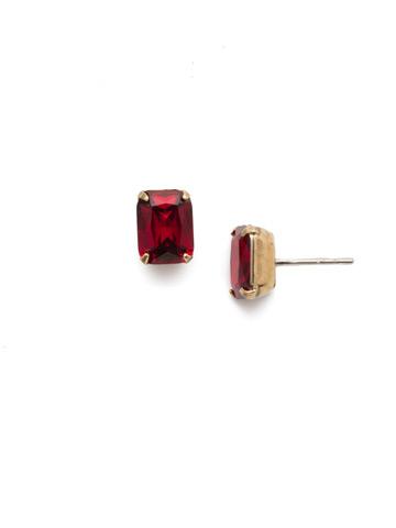 Mini Emerald Cut Stud Earring in Antique Gold-tone Siam