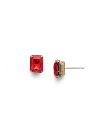 Mini Emerald Cut Stud Earring in Antique Gold-tone Sansa Red
